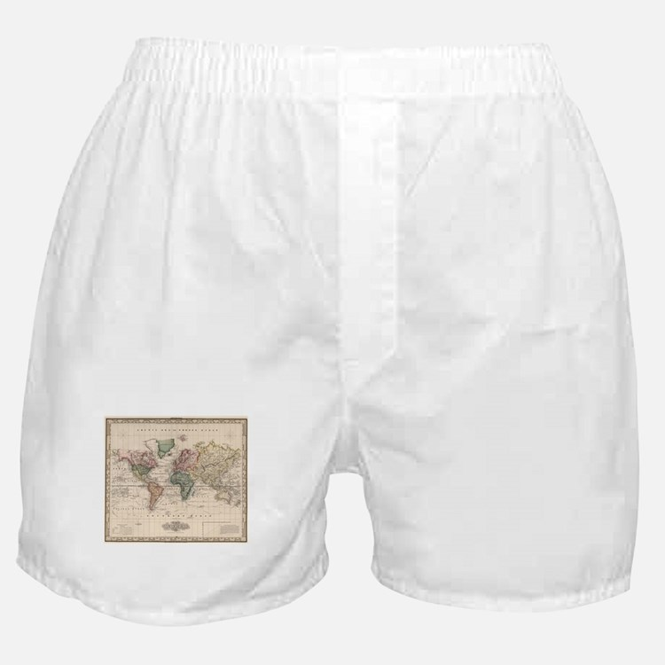 Vintage Map of The World (1833) Boxer Shorts