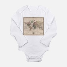 Vintage Map of The World (1833) Body Suit