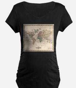 Vintage Map of The World (1833) Maternity T-Shirt