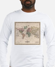 Vintage Map of The World (1833 Long Sleeve T-Shirt