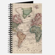 Vintage Map of The World (1833) Journal