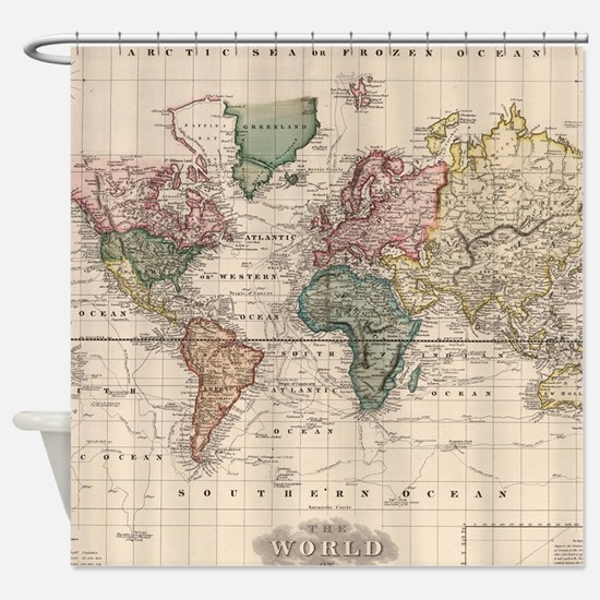 Antique world map gifts merchandise antique world map gift ideas apparel cafepress - Old world map shower curtain ...