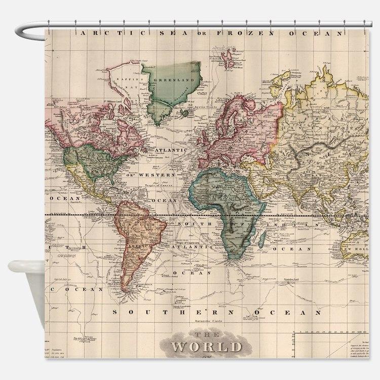 Worksheet. Antique World Maps Shower Curtains  Antique World Maps Fabric
