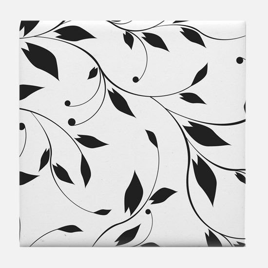 Elegant Leaves Tile Coaster
