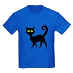Cat With Green Eyes Kids Dark T-Shirt