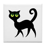 Cat With Green Eyes Tile Coaster