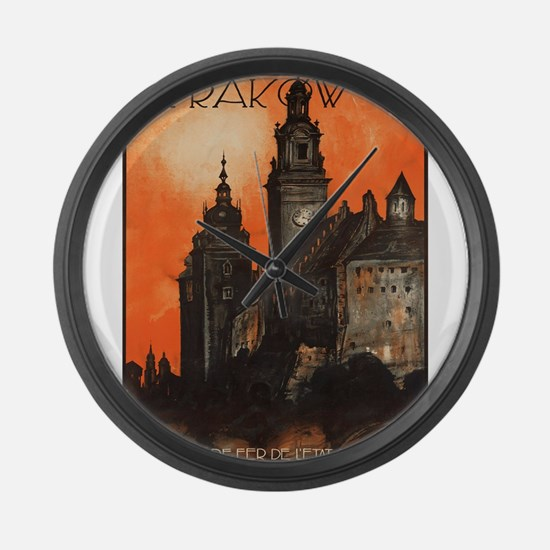 Vintage poster- Krakow Large Wall Clock
