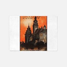 Vintage poster- Krakow 5'x7'Area Rug