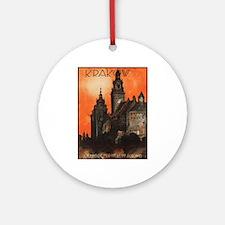 Vintage poster- Krakow Round Ornament
