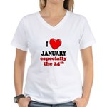 January 24th Women's V-Neck T-Shirt