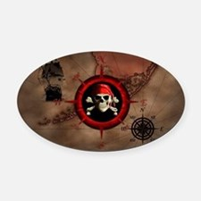Pirate Compass Rose And Map Oval Car Magnet