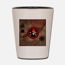 Pirate Compass Rose And Map Shot Glass