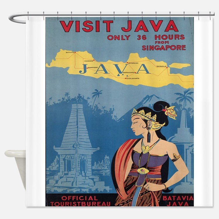 Vintage poster - Java Shower Curtain