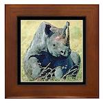 Seated Baby Rhino Framed Tile