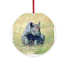 Seated Baby Rhino Ornament (Round)