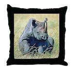 Seated Baby Rhino Throw Pillow