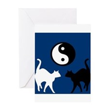 YIN YANG CATS Greeting Card