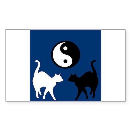 YIN YANG CATS Rectangle Sticker
