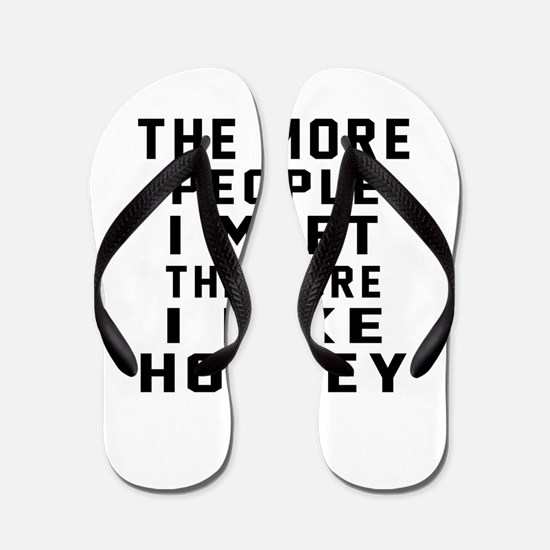 I Like More Hockey Flip Flops