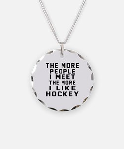 I Like More Hockey Necklace Circle Charm
