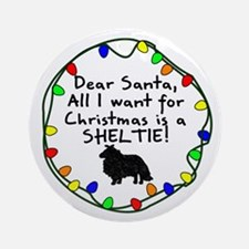 Dear Santa Sheltie Christmas Ornament