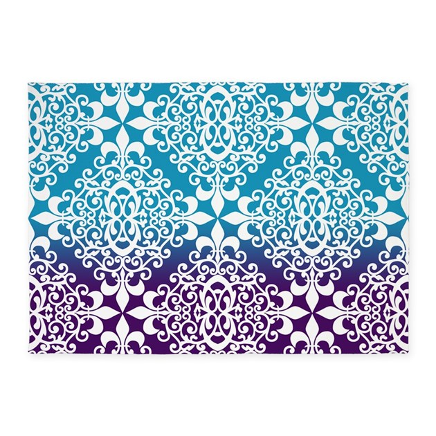 Ombre Purple And Teal Damask 5'x7'Area Rug By Admin