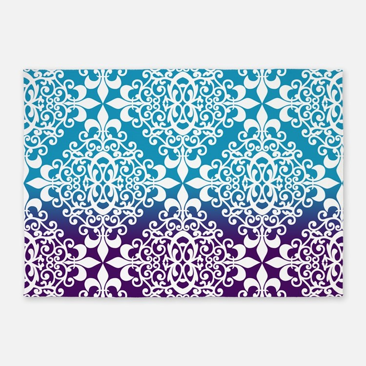 Ombre Purple And Teal Damask 5'x7'Area Rug