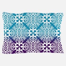 Ombre Purple And Teal Damask Pillow Case