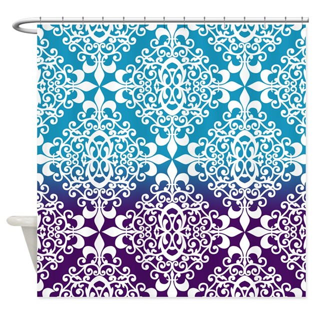 Ombre purple and teal damask shower curtain by admin for Purple ombre shower curtain