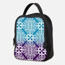 Ombre Purple And Teal Damask Neoprene Lunch Bag