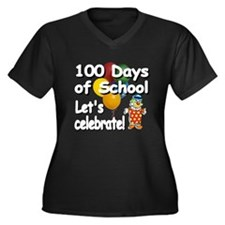 Funny 100 days school Women's Plus Size V-Neck Dark T-Shirt
