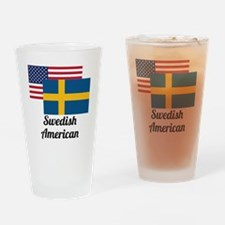 American And Swedish Flag Drinking Glass