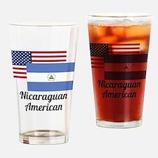 American And Nicaraguan Flag Drinking Glass