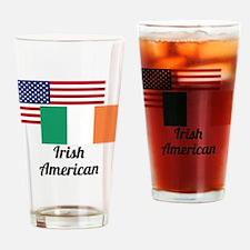 American And Irish Flag Drinking Glass
