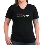 I Love Chickens Women's V-Neck Dark T-Shirt