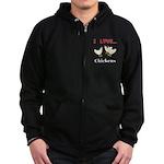 I Love Chickens Zip Hoodie (dark)
