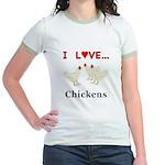 I Love Chickens Jr. Ringer T-Shirt