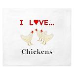 I Love Chickens King Duvet
