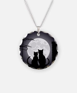 Two cats one moon Necklace