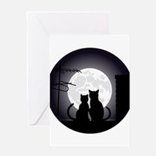 Two cats one moon Greeting Cards