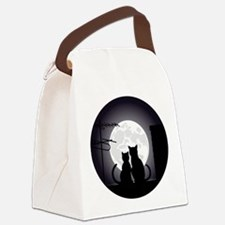 Two cats one moon Canvas Lunch Bag