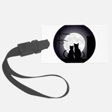 Two cats one moon Luggage Tag