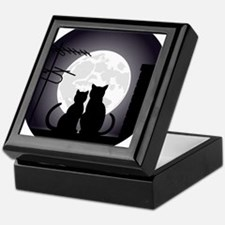 Two cats one moon Keepsake Box