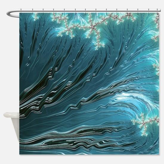 Big Wave Fine Fractal Art Shower Curtain