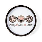 Peace Love Scrapbook Wall Clock
