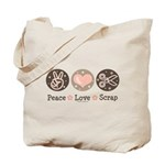 Peace Love Scrapbook Tote Bag