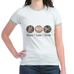 Peace Love Scrapbook Jr. Ringer T-Shirt