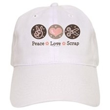 Peace Love Scrapbook Baseball Baseball Cap