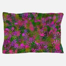 Pink Pot Leaf Pattern Pillow Case