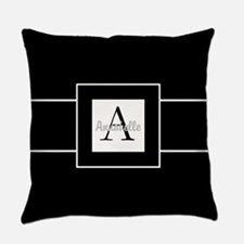 Black White Monogram Personalized Everyday Pillow